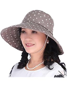 Gorras De Sol Para Mujer Polka Dots Gorro De Tela Plegable Summer Beach Cap UV Protection Free Size
