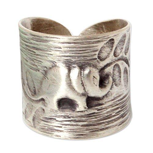 NOVICA Damen Sterling Silber Wrap Ring 'Thai Waldelefanten' 6