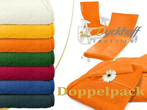 Doppelpack zum Sparpreis - Schonbezüge für Gartenstuhl & Gartenliege aus dem Hause Dyckhoff - erhältlich in 6 sommerlichen Farben - mit Kapuze für besseren Halt, Gartenliege (70 x 200 cm), orange