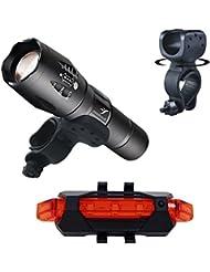 Sunmoch T6 LED 800 Lumen Fahrradlampe Set mit USB Fahrrad Rücklicht,Schwarz
