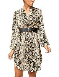 ab373005b289 OUFour Primavera Autunno Donna Camicie Vestiti con Cintura Manica Lunga  Abito da Spiaggia Moda Pelle di