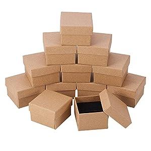 NBEADS 24 Pezzi Contenitore di Regalo al Dettaglio di Carta di scatole di Gioielli di Cartone Marrone Kraft per anniversari, Matrimoni o Compleanni, 5x5x4cm