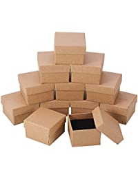NBEADS 24 Pcs Kraft Brown Square Cardboard Jewelry Ring Boxes Paper Retail Gift Box for Anniversaries, Weddings or Birthdays, 5x5x4cm
