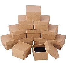 NBEADS 24 Piezas Kraft Marrón Cuadrado Cartón Joyería Anillo Cajas de Papel Caja de Regalo Al
