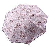 ZHUSAN Regenschirm Drei Falten mit 8 Rippen Prinzessin Sonnenschutz Vinyl Stickerei Spitze Sonnenschirm Sonnenschutz Für Shopping Travel (Farbe : Lila, Größe : A)