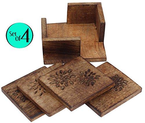 SouvNear de madera Copa posavasos Set de 4–Burn acabado diseño de hojas–Posavasos...