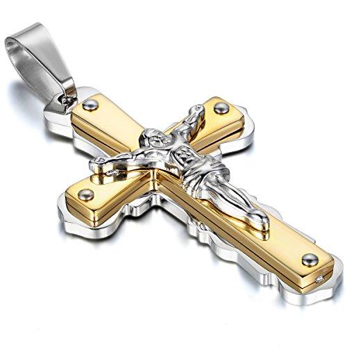 Oidea Herren Halskette mit Anhänger, Jesus Kruzifix Kreuz Edelstahl Anhänger mit 55cm Kette, Gold Silber