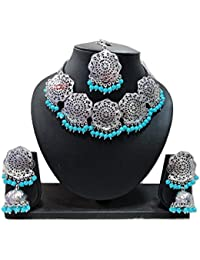 Apsara Art Jewellery Silver Plated Kundan Off Sky Blue Color Pearl Traditional Necklace With Jhumki Earrings And...