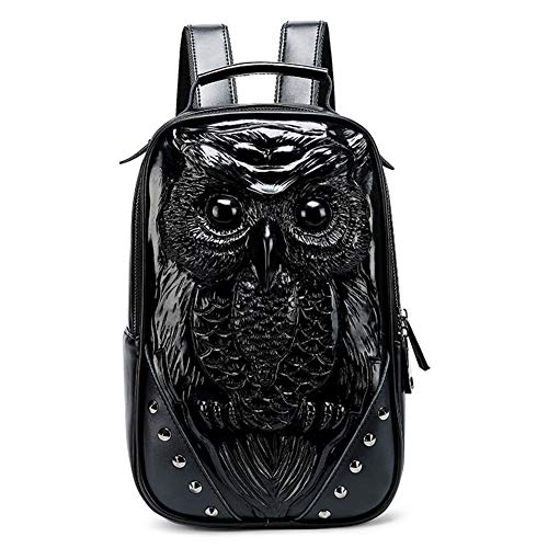 LUCKGXY Wasserdichter Frauen-Rucksack, Owl 3D PU Shoulders Bag College Schoolbag for Travel Outdoor Leisure Shopping Camping and Daily,Black (Handtaschen Für Frauen Owl)