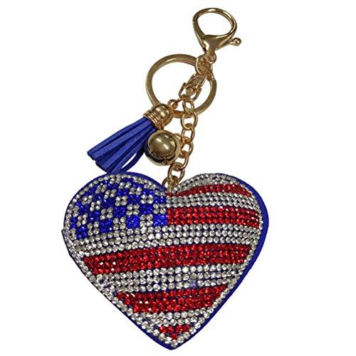 BESTOYARD Herz Strass Schlüsselanhänger Schlüsselring Flagge USA Keychain Dekorationen Muttertag Vatertag Geschenk (Usa-flagge Dekorationen)