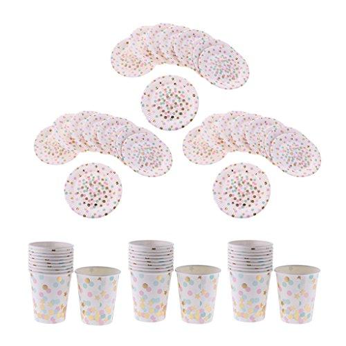 Gazechimp 30 Sets Gobelet et Assiette Jetable Motif Pois Etoile Multicolore Vaisselle Anniversaire