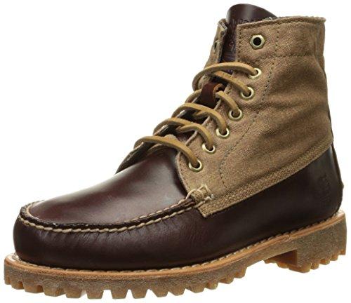 timberland-authentics-7-eye-lug-barca-scarpe-pelle-canvas-marrone-marrone-43-eu