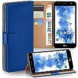 moex LG X Power 2 | Hülle Blau mit Karten-Fach 360° Book Klapp-Hülle Handytasche Kunst-Leder Handyhülle für LG X Power 2 Case Flip Cover Schutzhülle Tasche