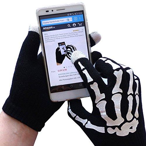 ndschuhe Touch Screen Touchscreen Handschuhe Smartphone - Mit Druck - Schwarz (Skelett Handschuhe Knochen)