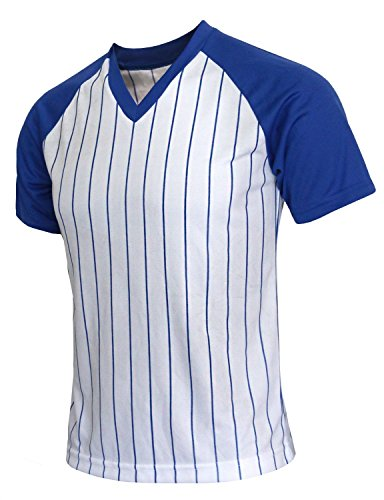 BCPOLO Herren Stripe V-Neck Shirt Sportlich Kurzarm T-Shirt Blue-XL (Blue-stripe V-neck)