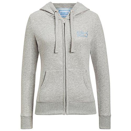 Sportkind Mädchen & Damen Tennis / Running / Sport Sweatjacke mit Kapuze, hellgrau, Gr. XXL (Tennis-mädchen Sweatshirt)