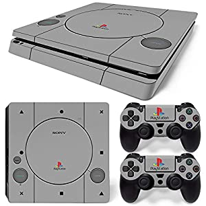 Sony PS4 Playstation 4 Slim Skin Design Foils Aufkleber Schutzfolie Set – Retro PSOne 2 Motiv