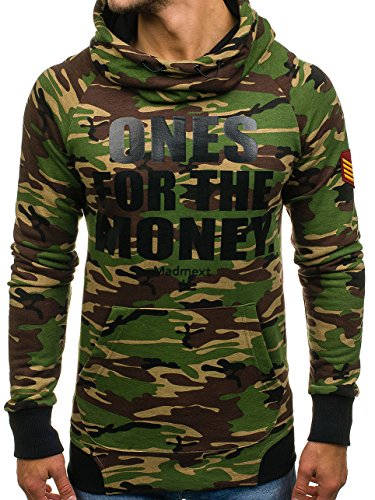BOLF Herren Pullover mit Kapuze Sweatshirt Langarmshirt Sweatjacke Militär  Army Camo Muster 1A1 Grün 1ae8b0b933