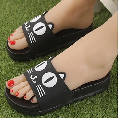 zhENfu donna pantofole & amp; flip-flops Estate Slingback Casual in gomma tacco piatto Rosso Bianco Nero Black