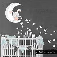 StarStick - Conejito en la luna repartiendo estrellas - Blanco - Vinilos infantiles bebé