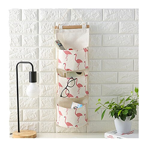 Lalang Flamingo Muster Mehrschicht Küche Badezimmer Taschen Wand Organisator Tür hängender Speicher-Beutel -