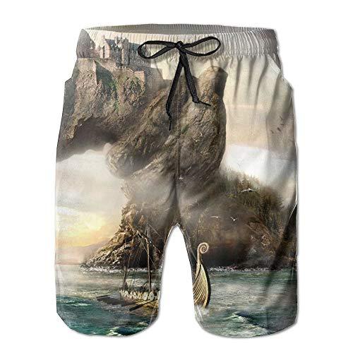 Amazing Dragon Boat Pattern Freizeitshorts für Herren/Jungen Badehose Badebekleidung Strandhose mit elastischer Taille und Taschen, XXL
