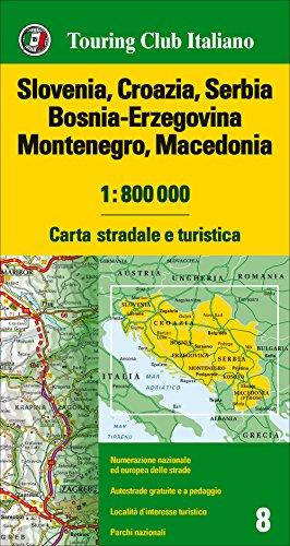 Slovenia, Croazia, Serbia, Bosnia Erzegovina, Montenegro, Macedonia 1:800.000. Carta stradale e turistica por From Carte D'europa 1:800.000