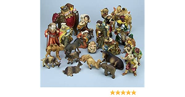 11 cm Krippenfiguren Set aus Polyresin handbemalt Mathiaskrippe 23 Teile