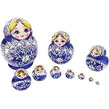 Série de 10pcs Poupées Russes Matriochkas en Bois Peints - Bleu