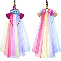 Boao 2 Pieces Rainbow Unicorn Headband with Colorful Tulle for Girls Teens Toddlers Children Party Hairbands