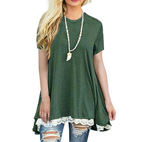KaloryWee Women's Short Sleeve Summer Flowy A-Line Tunic T-Shirt High Low Lace Tops
