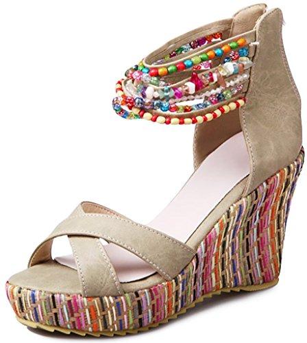 Odema sandal boemi con perline e con tacco grosso da donna albaricoque