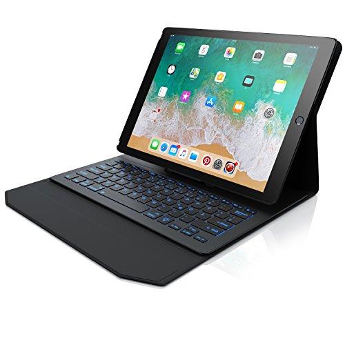CSL - iPad Pro 12,9 Zoll Tastatur mit Hintergrundbeleutung | Schutzhülle / Tasche / Cover / Case | Multimedia Funktionstasten | Rainbow Tastenbeleuchtung | kompatibel mit iPad Pro Generation 1 und 2