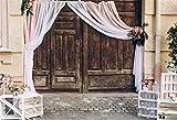 Cassisy 2,2x1,5m Vinyle Mariage Toile de Fond Photo Rustique Portes de Grange en Bois Shabby Chic Arrangements de Fond De Studio Photo Les Amoureux Adulte Photographie Props Photobooth