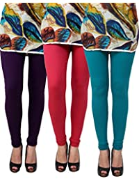 Anekaant Pack Of 3 Cotton Lycra Free Size Women's Legging -Purple, Maroon, Light Green
