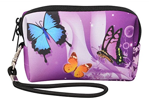 MySleeveDesign Kameratasche Hülle aus Neopren für Digitalkameras Kompaktkameras - Passend für Sony Canon Panasonic Olympus Samsung Nikon uvm. - VERSCH. DESIGNS - Butterfly Purple