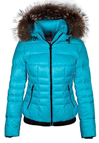 """M650 Damen Daunenjacke Skijacke """"TARORE"""" mit Echtfellkapuze blau"""