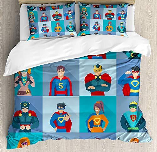 WENYAO Superheld King Size Bettbezug, Charaktere mit übernatürlichen Kräften in besonderen Kostümen Comic-Humor-Print, dekoratives 3-teiliges Bettwäscheset mit 2 Kissenbezügen, Mehrfarbig (Übernatürliche Kostüm)