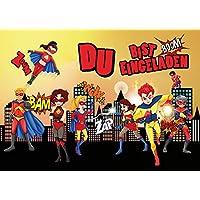 12 Einladungskarten SUPERHELDEN: 12 Er Set Einladungen Für Den Superhero  Kindergeburtstag Für Super