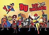 12 Einladungskarten SUPERHELDEN: 12-er Set Einladungen für den Superhero-Kindergeburtstag für Super-Jungen und Super-Mädchen/Geburtstagseinladungen Kinder von EDITION COLIBRI (10963)