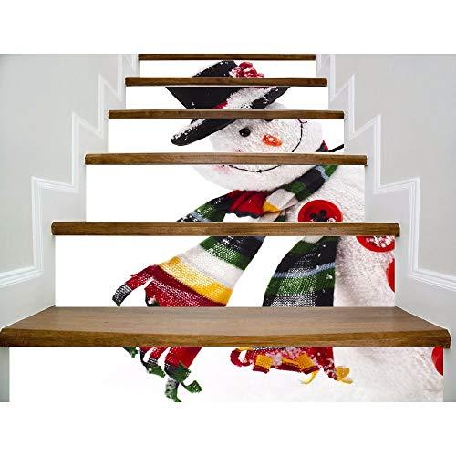 YSFU Stickers muraux 6Pcs / Set 18Cm X 100Cm Bonhomme De Neige Incliné La Tête Rire Modèle Style Escalier Autocollant De Décoration Murale