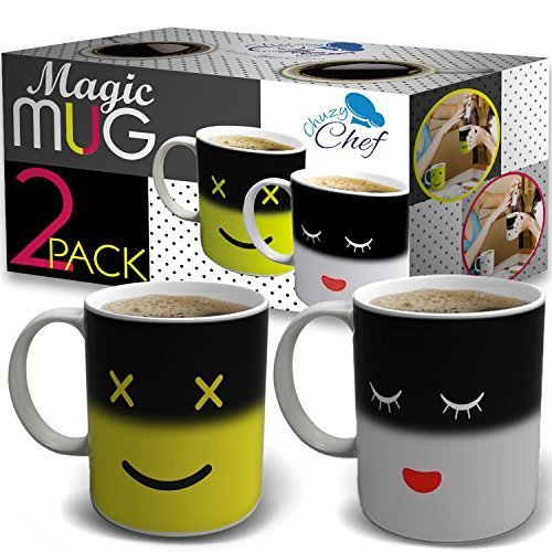 chuzy Chef Magic Morning Coffee Tasse-2 Pack, gelb & Weiß 12 Oz wärmeempfindliche Farbe und Gesicht Farbwechsel Keramik Tee Tasse schwarz (Face Joe Farbe)