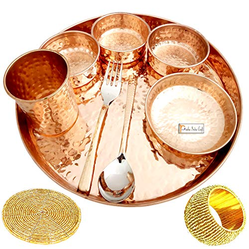 Prisha India Craft Pure Copper Thali Set of Plate, Bowl, Spoon, Fork, Glass, 12-inch