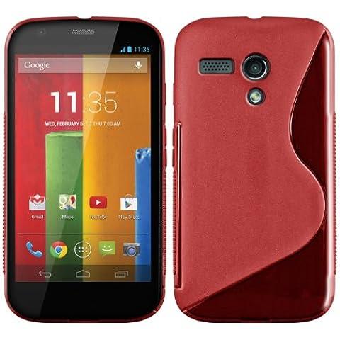kwmobile FUNDA de TPU silicona para Motorola Moto G (2013) Diseño línea en S rojo transparente - Estilosa funda de diseño de TPU blando de alta