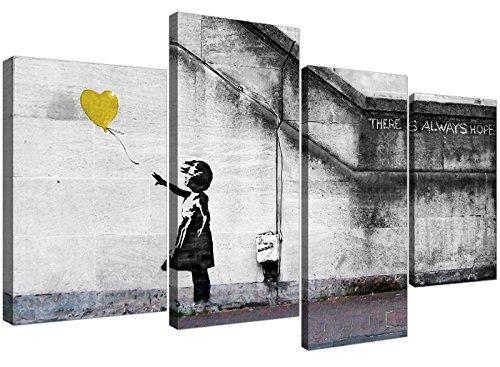 Banksy de niña con globo de grafiti de Lienzo grandes de color amarillo Multi 4piezas–130cm de ancho–4221–Wallfillers