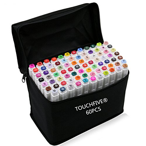touchfive-marker-lot-de-60-marqueurs-a-double-pointes-brush-dans-un-sac