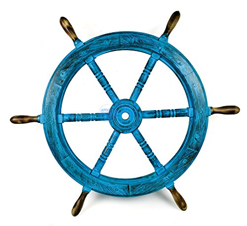 Nagina International Nautisches Holz Handgefertigt Antik Frozen blau Captain 's Maritime Deko Schiff Rad–Home Decor–Pirat Kindergarten Geschenk, Holz, 72 inches