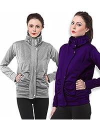 Purys Light Grey & Purple Fleece Buttoned Sweatshirts Combo of 2