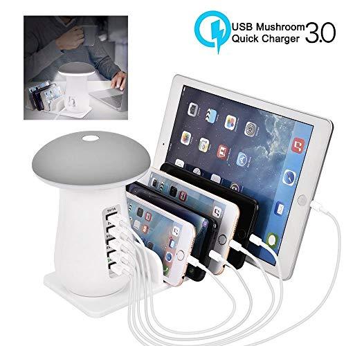 leegoal USB Cargador rápido estación con QC 3,0 Carga rápida, 5 Puerto Muelle de Carga con lámpara de Seta LED, Cargador Universal Stand Organizador para múltiples Dispositivos, teléfonos, tabletas
