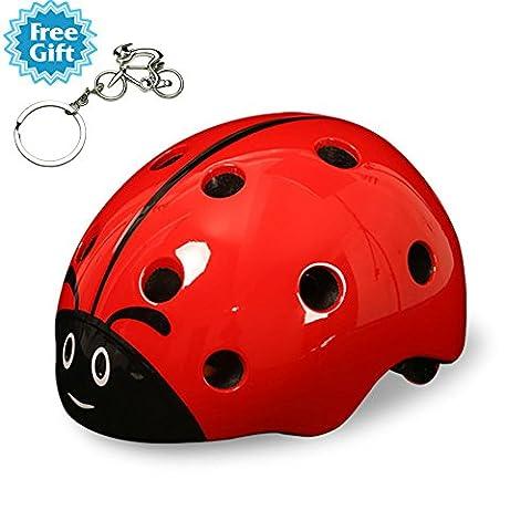 West Biking Coccinelle casque de dessin animé pour enfants pour enfants casque de sécurité Cyclisme patinage à roulettes Scooter Vélo (convient pour enfants âgés de 3–8), Homme Enfant femme, Red
